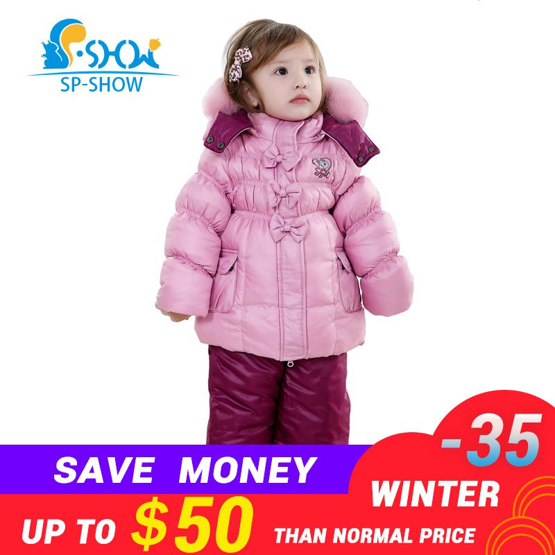 SP-SHOW Winter Children Suit Girl Super Fashion Suit Warm Coat Lining Fleece To Keep Warm The Anti-pilling Overcoat 128202