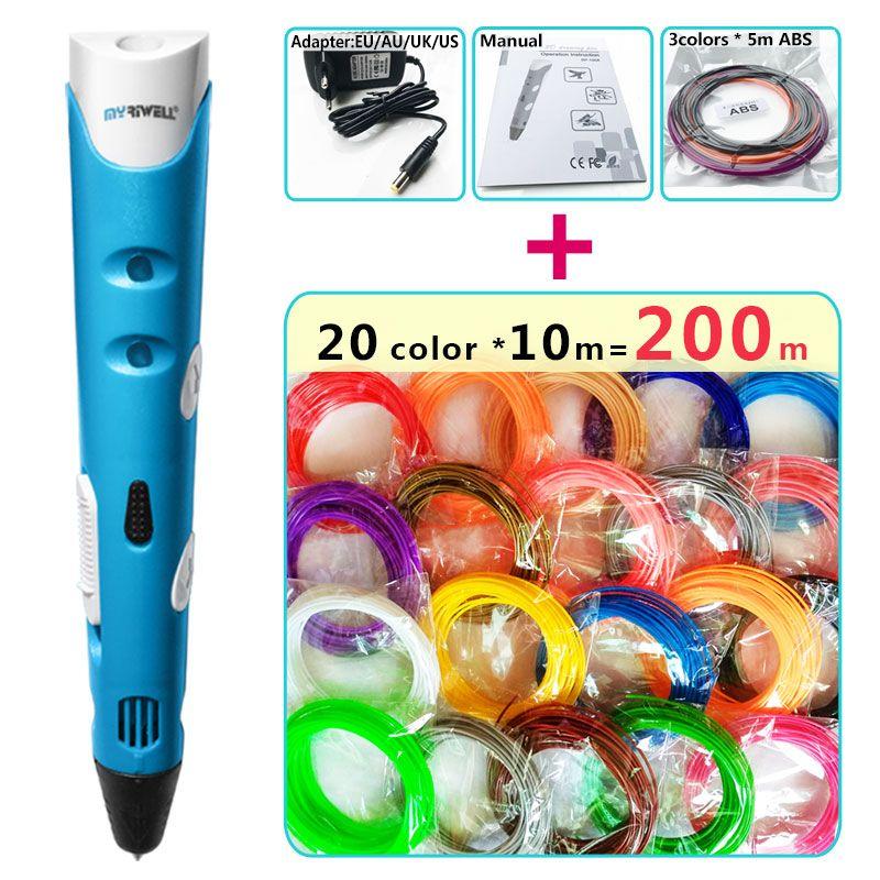 Myriwell 3d stylo + 20 Couleur * 10 m ABS filament (200 m), 3 d stylo 3d modèle, Creative 3d impression stylo, Meilleur Cadeau pour les Enfants creative, pen-3d