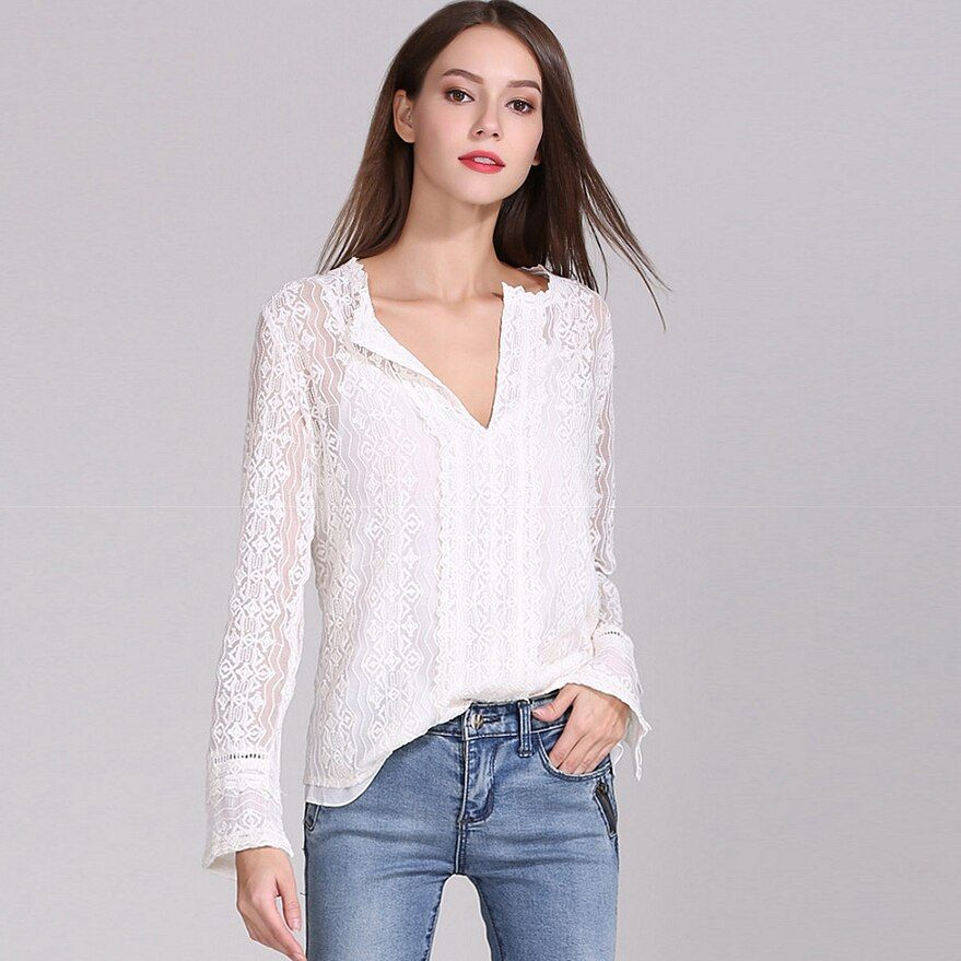 100% seide Bluse Frauen Hemd Solide Vintage Stickerei Plissee Design Tiefe V Neck Long Sleeves Anmutigen Stil Neue Mode 2019