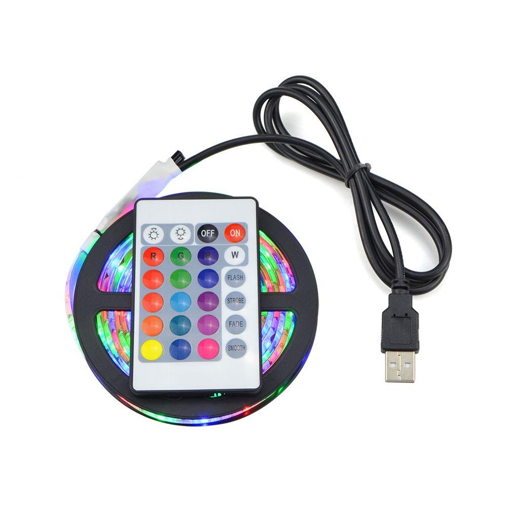 1Set SMD 3528 RGB USB LED Strip Light Waterproof DC 5V String Light With 24 Key Remote Controller For TV Background Lighting