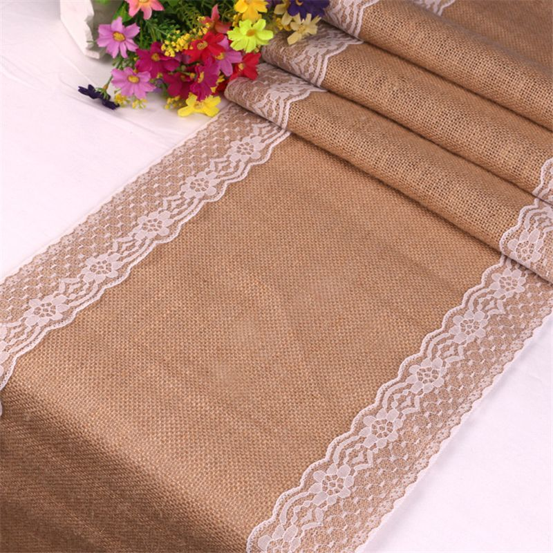 275cm Vintage White Christmas Lace Jute Linen Hessian Burlap Country Event Party Supplies Wedding Decoration Table Cloth Runner