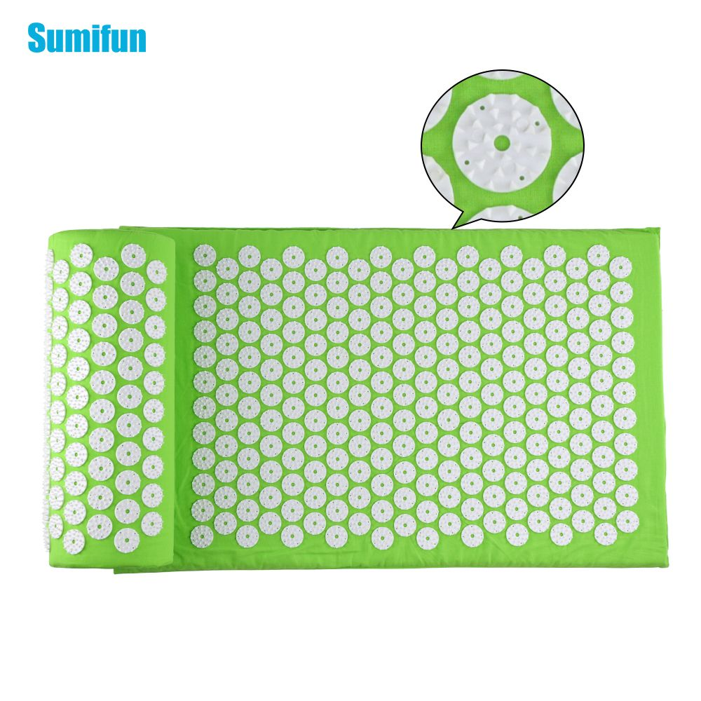 Sumifun Massage Cushion Set Acupressure Therapy Mat Relieve Stress Pain Acupuncture Spike Yoga Mat with Pillow Green D06897