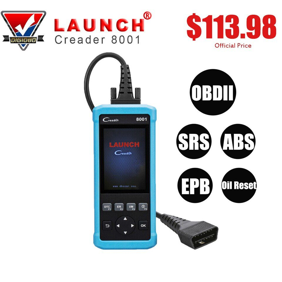 Launch Creader 8001 Code Reader CR8001 Scanner Full OBDII EOBD Functions Diagnostic Tool ABS SRS EPB Oil Service Light Resets