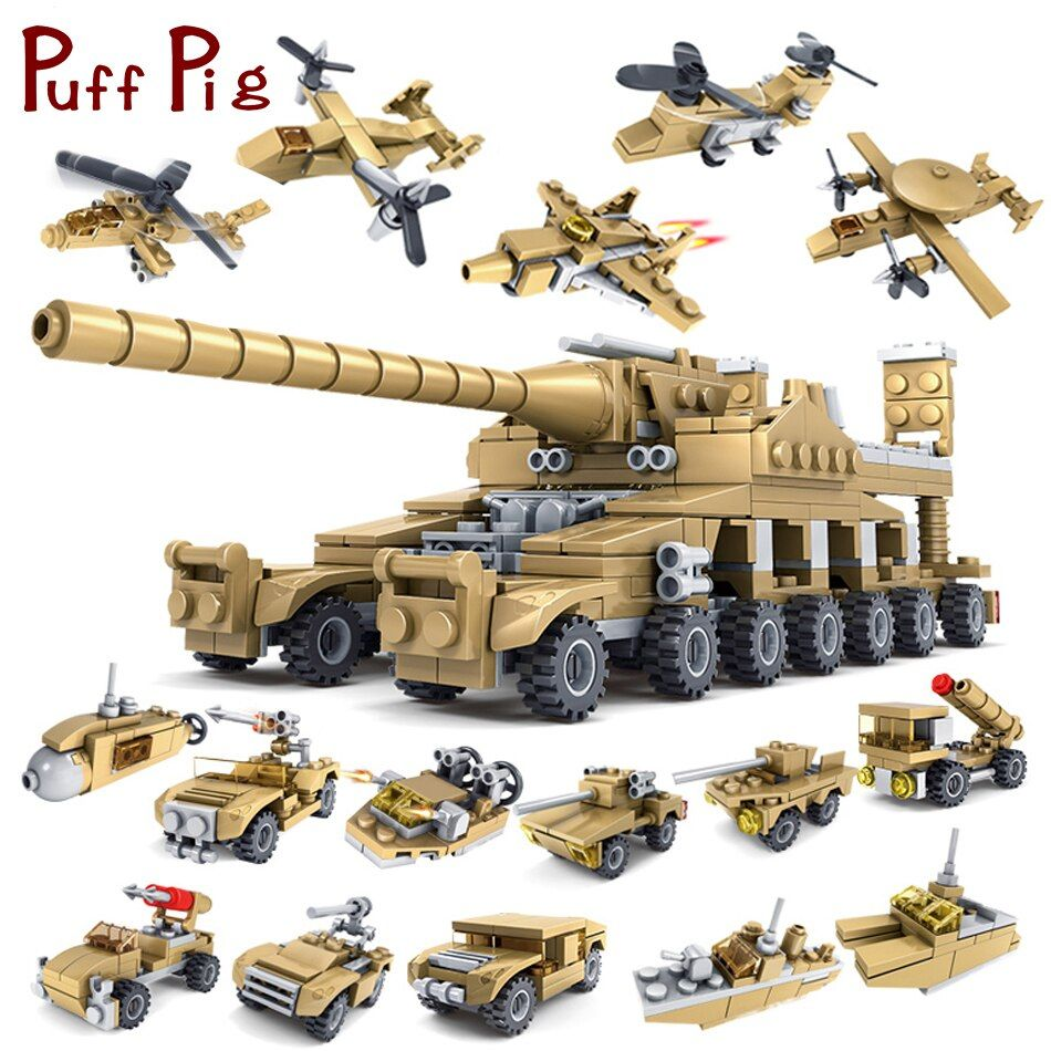 544PCS 16 in 1 Army Tank Building Blocks Bricks Military Vehicles Compatible Legoed Weapons Brinquedo Menina Toys For Children