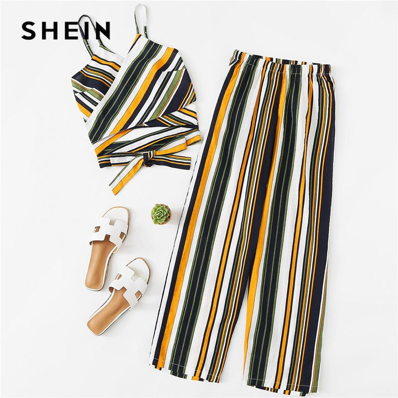 SHEIN Cut Out Striped Cami With Pants 2018 Summer Spaghetti Strap Striped Vest With <font><b>Full</b></font> Length Trousers Women Casual Twopiece