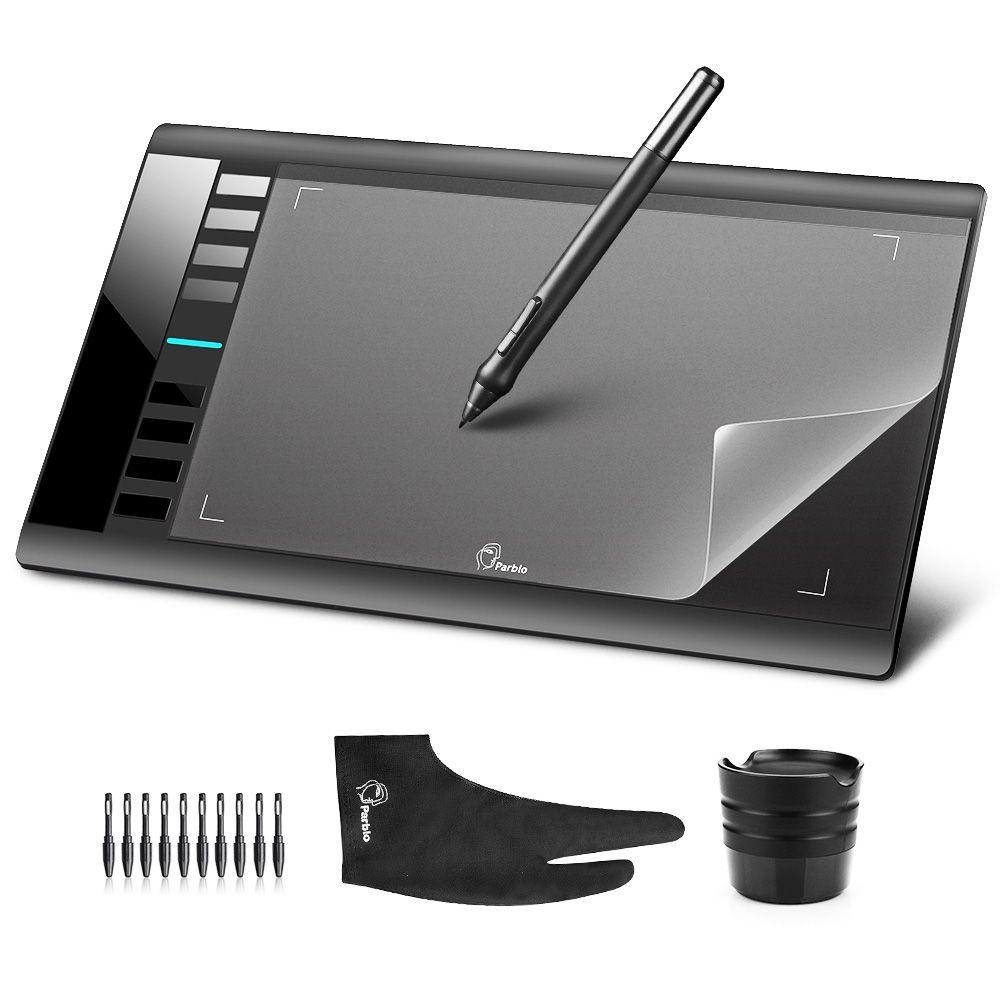 Parblo A610 10x6 Tablette Graphique Art Dessin Comprimés Support USB + Film De Protection + Anti-fouling gant + De Rechange Stylo Plumes