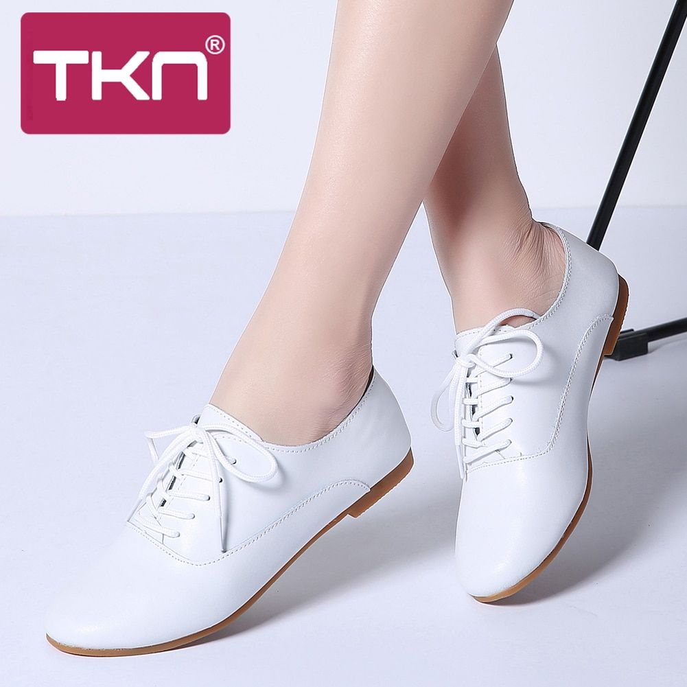 TKN 2019 Autumn Women Flats Shoes Women Genuine Leather Wedges Shoes Woman Loafers Slip on Ballet Flats Ballerines Flats 051