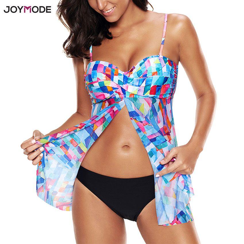 JOYMODE Swimdress 2 Pieces Bikini Sets Push Up Swimwear Women Skirt Beach Swimsuit Padded Biquini Femme Retro Bathing Suit 5XL