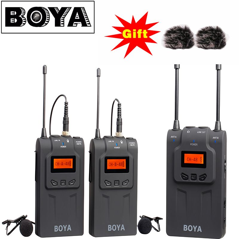 BOYA BY-WM8 Dual-Channel Wireless Lavalier Microphone System with 48 Channels 6 Hours Continuous Running Time for Interviews
