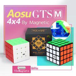 Micube Moyu Aosu GTS M 4X4X4 Kubus Magnetik Teka-teki Kecepatan 62 Mm Cubo 4X4 untuk Kompetisi Profesional WCA Tanpa Stiker Hitam Mainan Anak