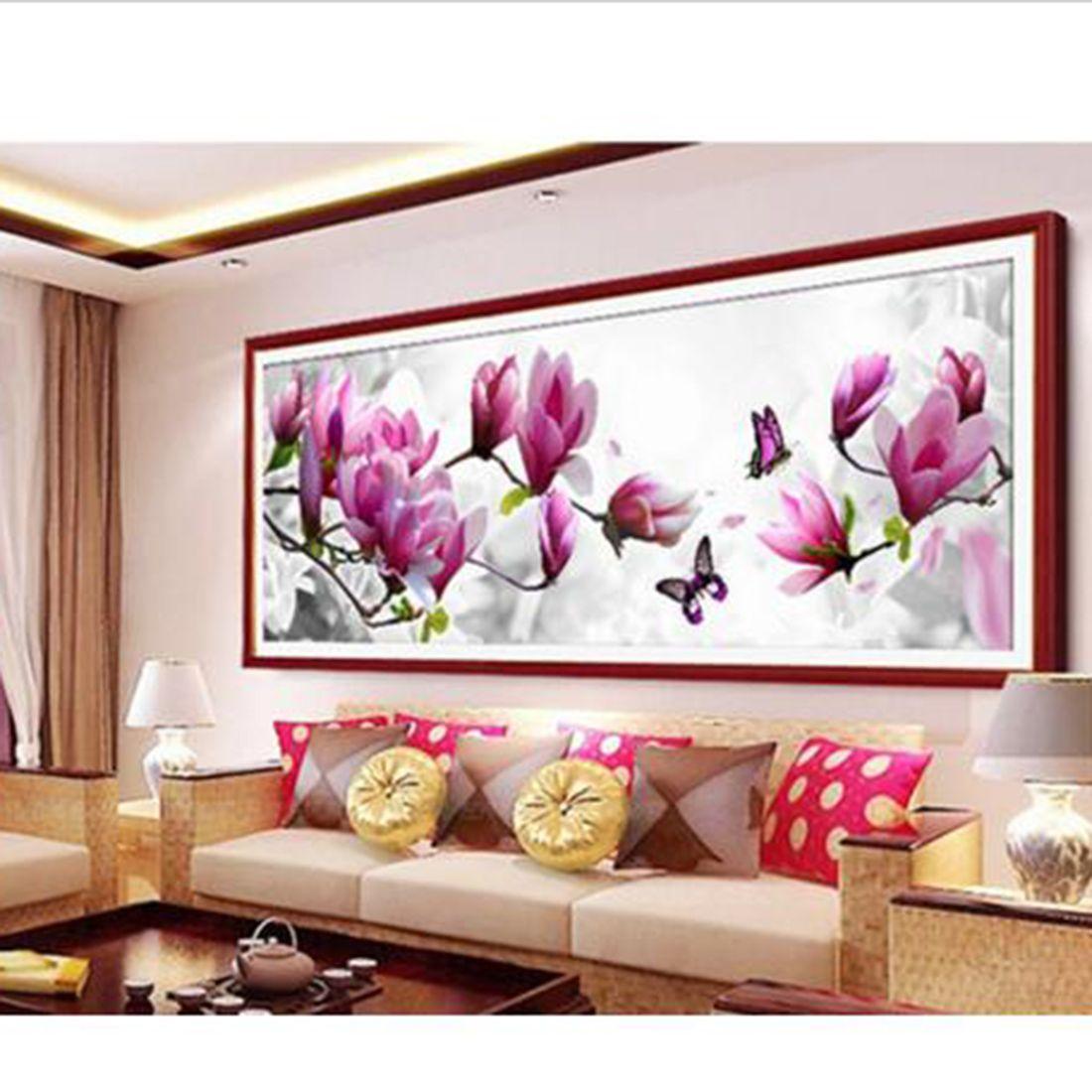 Mode BRICOLAGE 5D Diamant Broderie Papillons jouer Magnolia Ronde Diamant Peinture Point De Croix Kits Diamant Mosaïque Décor À La Maison