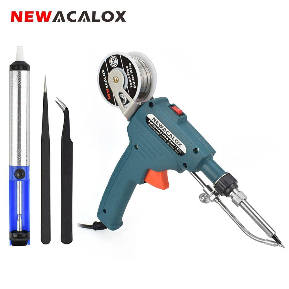 NEWACALOX 110V/220V 60W US/EU Hand-held Internal Heating Soldering Iron Automatically Send Tin Gun Soldering Welding Repair Tool