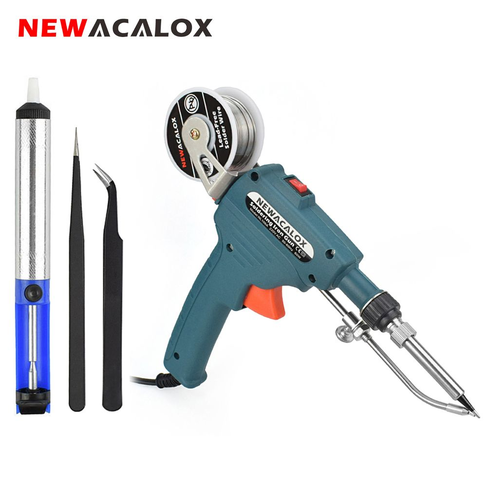 NEWACALOX EU/US 60W Hand-held Internal Heating Soldering Iron Automatically Send Tin Gun Soldering Station Welding Repair Tool