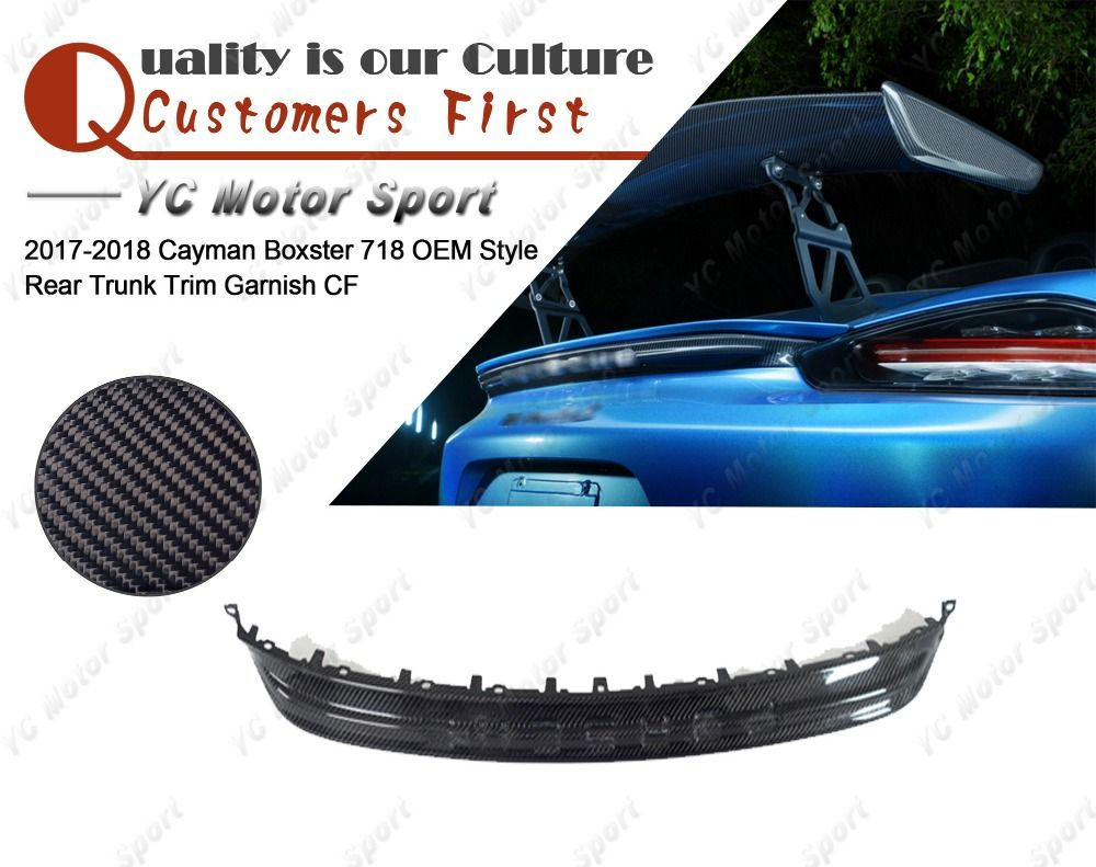Car Accessories Carbon Fiber OEM Style Rear Trunk Trim Fit For 2017-2018 Cayman Boxster 718 Rear Trunk Trim Garnish