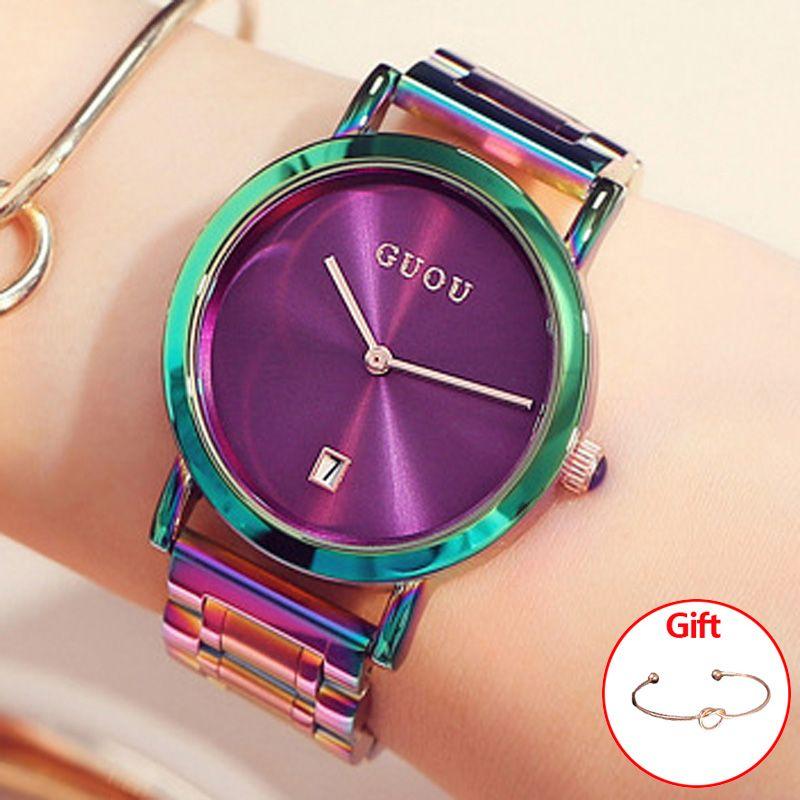 GUOU Women's Watches Colorful Montre Femme 2018 Ladies Watch Bracelet Watches For Women Clock Women Calendar zegarek damski
