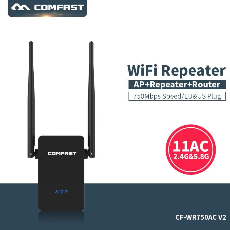 Comfast Dual Band 750 Mbps Wifi Repeater Roteador 802.11AC Wireless Router 2.4G+5 GHz Extender Amplifier Wifi range expander
