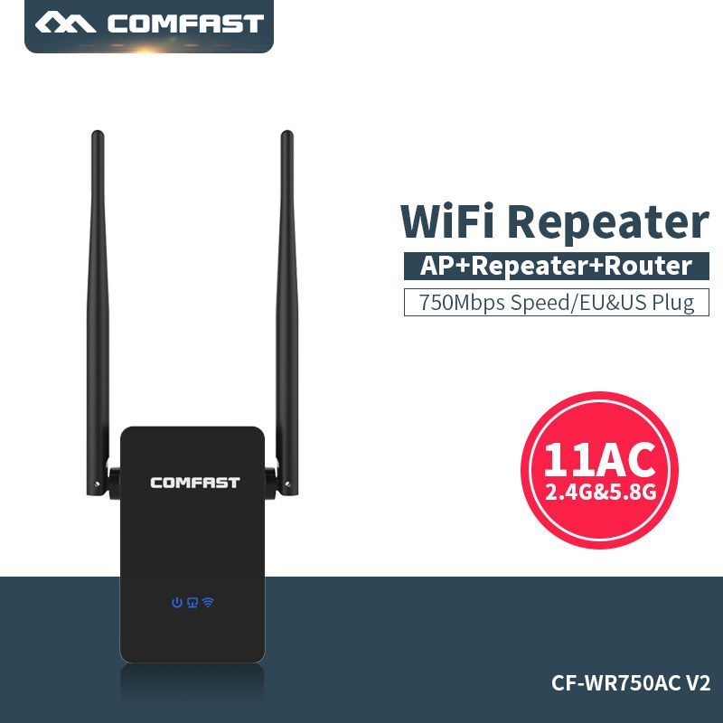 Comfast Dual Band 750 Mbps Wifi Repeater Roteador 802.11AC Wireless Router <font><b>2.4G</b></font>+5 GHz Extender Amplifier Wifi range expander