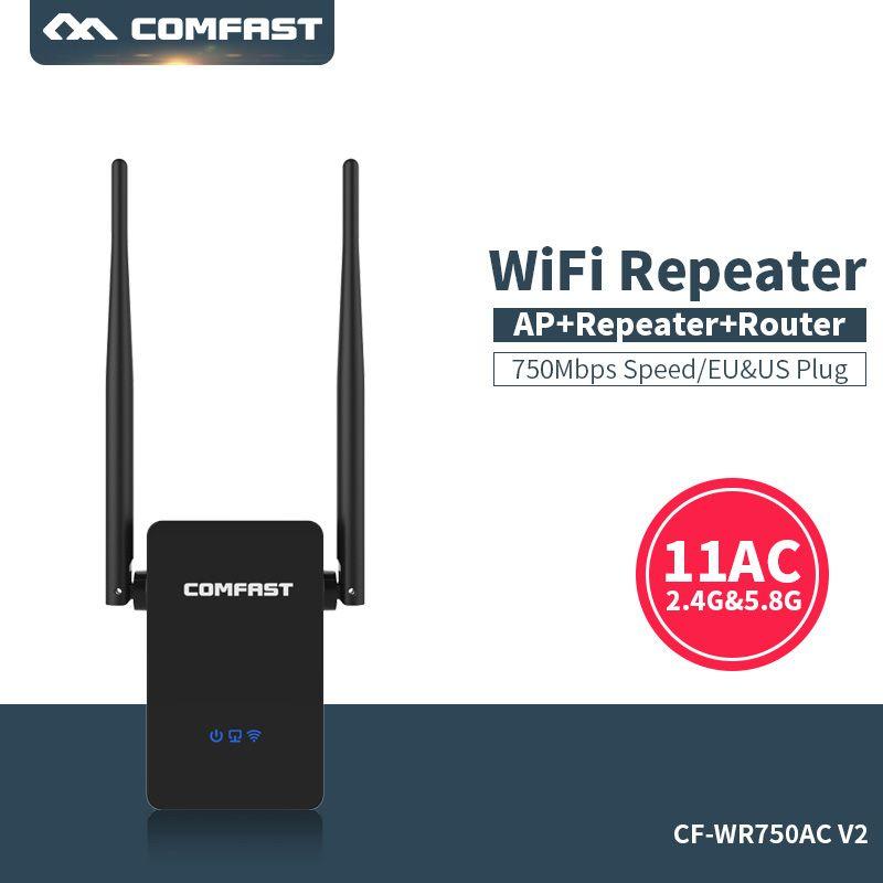 Répéteur Wifi double bande Comfast 750 Mbps Wifi répéteur Roteador routeur sans fil 802.11AC amplificateur Wi-Fi 2.4G + 5 GHz