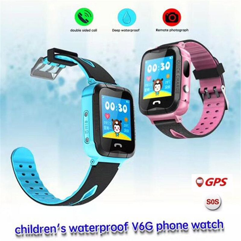 Fuy Bill Waterproof V6G Smart Watch GPS Tracker Monitor SOS Call with Camera Lighting Baby Smartwatch for Kids Child PK Q750 Q90