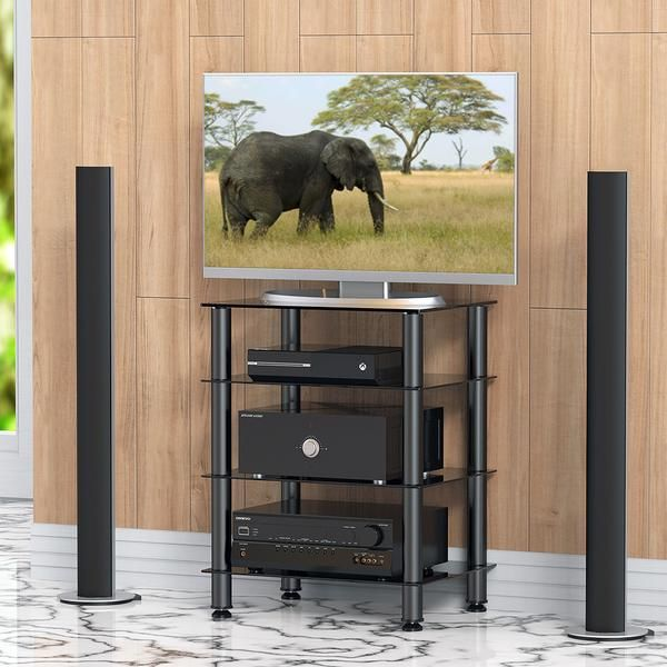 Fitueyes 4 tier TV Media stand for Audio Cabinet Apple Tv xbox One PS4 Audio Components Rack AV Tower Media Stand AS406001GB