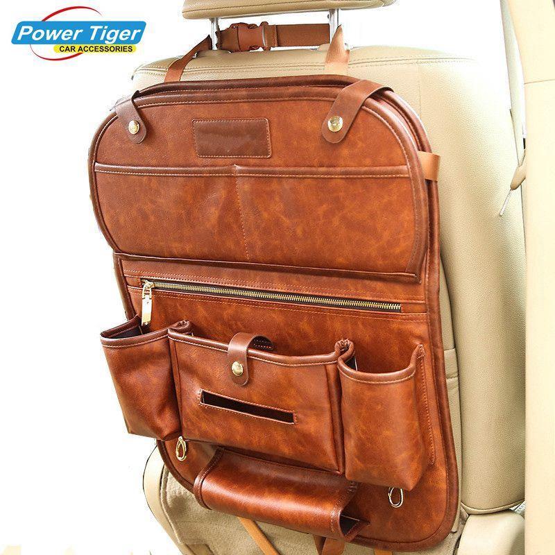 Genuine Leather Car Seat Back Organizer Pockets Folding Backseat Hanging Holder Storage Bags Auto Car Tissue Box with Dish Tray