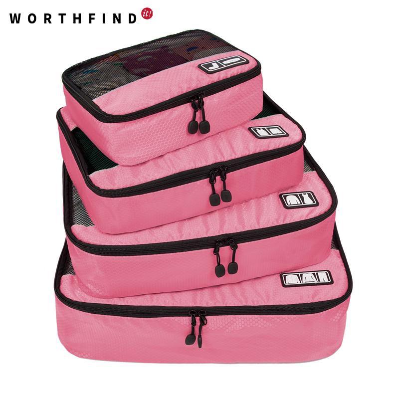 WORTHFIND Voyage Sac 4 Set Emballage Cubes Bagages Emballage Organisateurs avec Sac À Chaussures Fit 23