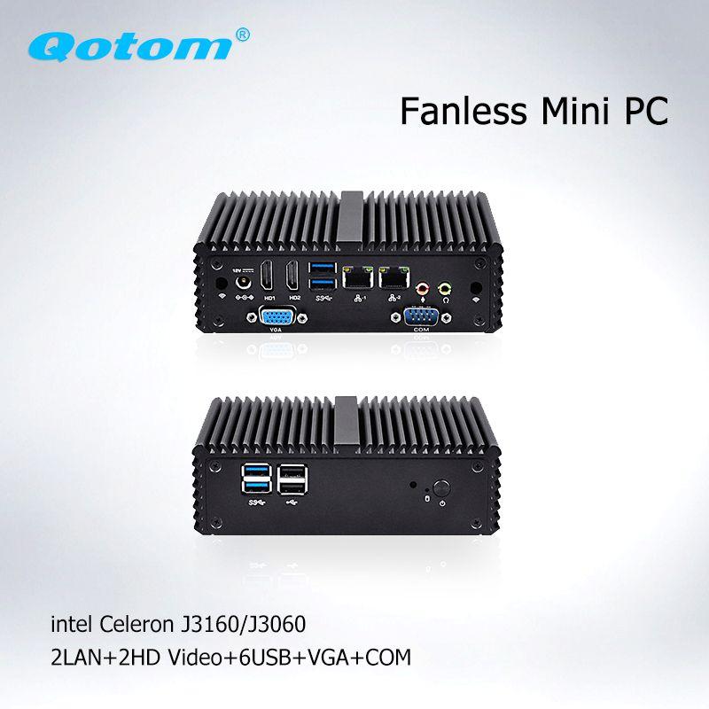 Qotom Fanless Mini PC Celeron j3160 j3060 AES-NI Barebone micro Computer linux Ubuntu PC x86 Industrial Mini Computer