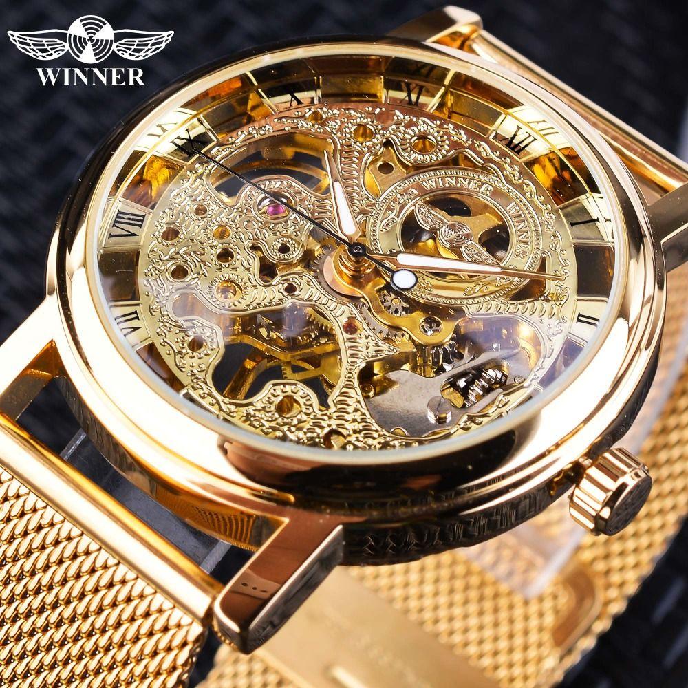 Winner boîtier mince entièrement doré Design rétro ajouré horloge maille bande hommes montres mécaniques Top marque luxe mains lumineuses