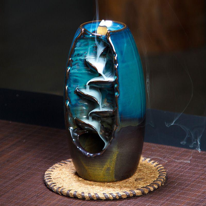 3 Color Backflow Incense Burner Ceramic Aromatherapy Furnace Lotus Smell Aromatic Home Office Incense Crafts Incense Holder