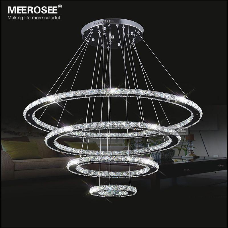 Spiegel Edelstahl Kristall Diamant Leuchten 4 Ringe led Anhänger Lichter Cristal Esszimmer Dekorative Hängen Lampe