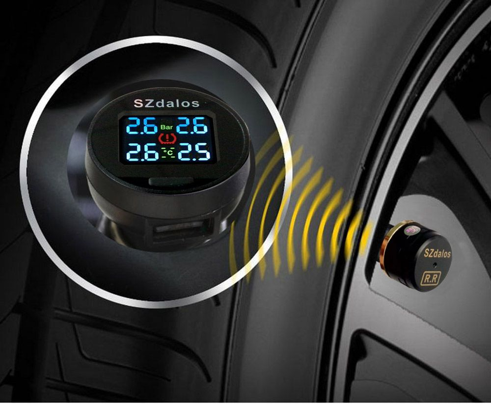 SZDALOS Car TPMS Wireless Tire Pressure Monitoring System + 4 mini External Sensors(0~6.8 bar/0~99 psi) Cigarette Lighter tmps
