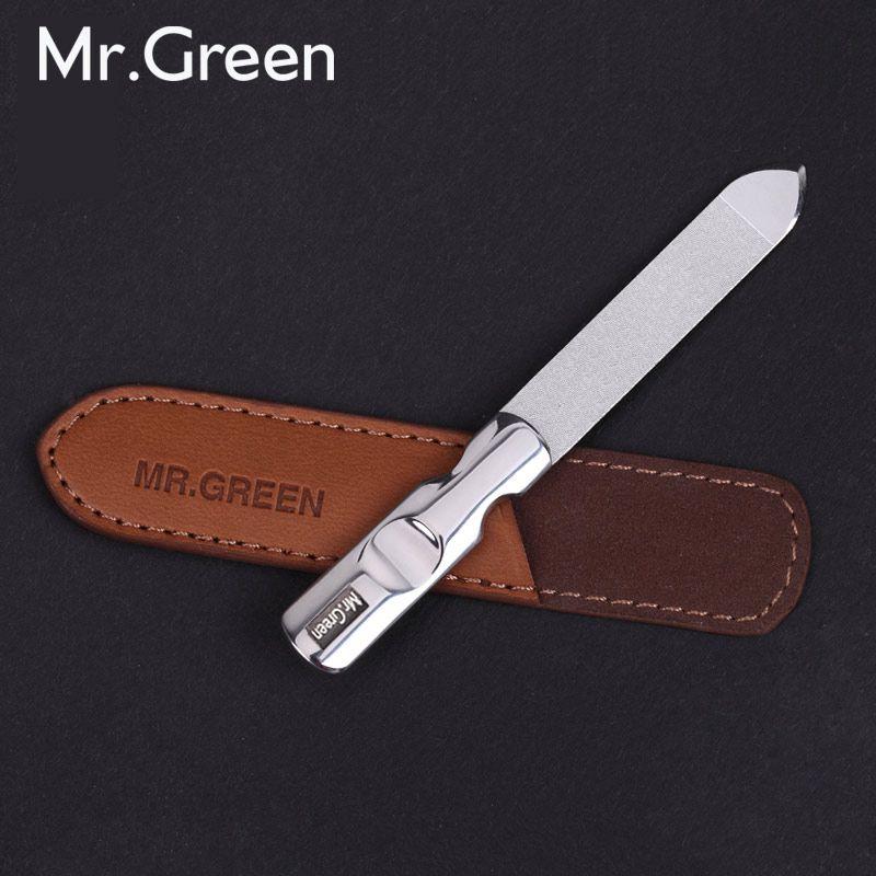 MR. vert acier inoxydable métal lime à ongles tampon professionnel shaper manucure outils polissage bande ponçage avec étui en cuir