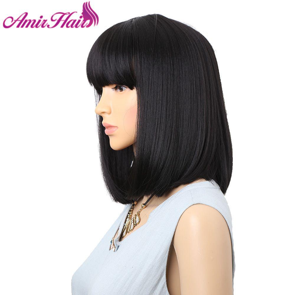 Amir droit noir synthétique perruques avec frange pour les femmes longueur moyenne cheveux Bob perruque résistant à la chaleur bobo coiffure Cosplay perruques