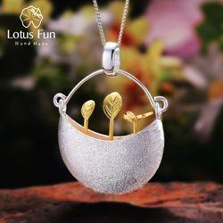 Lotus Menyenangkan Nyata 925 Sterling Perak Buatan Tangan Perhiasan Kecil Saya Desain Taman Liontin Tanpa Kalung untuk Wanita Acessorios