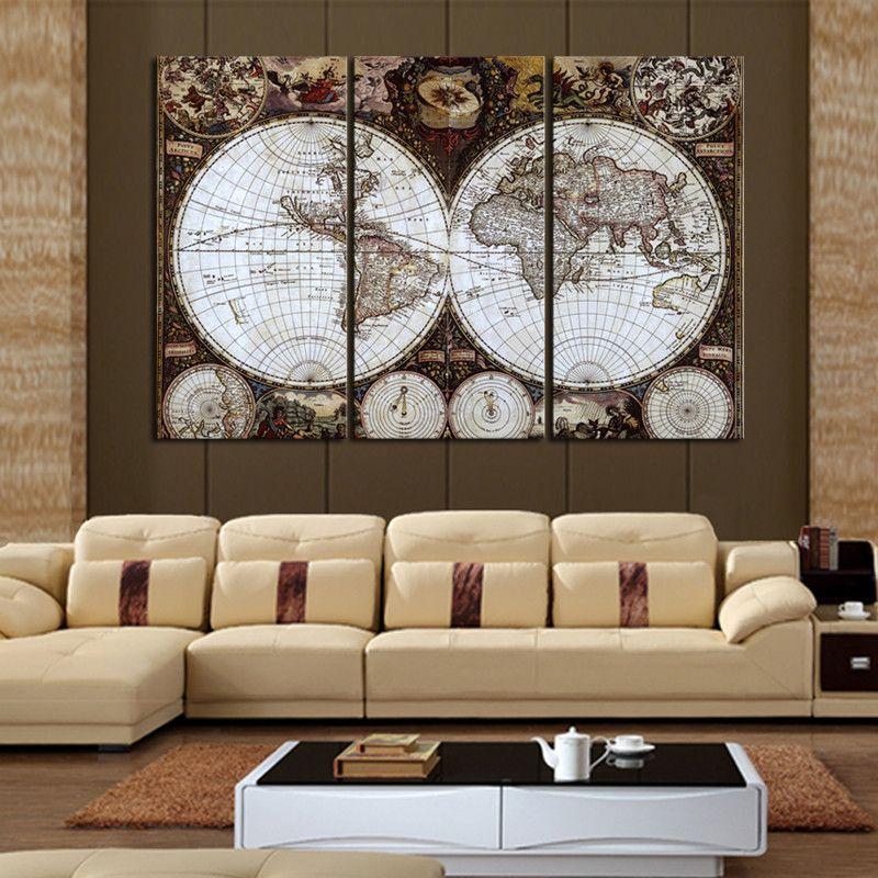 Classique 5D peinture diamant Bricolage plein diamant Broderie perle Couture décoration de la maison peinture carte du monde ensemble triptyque mur art