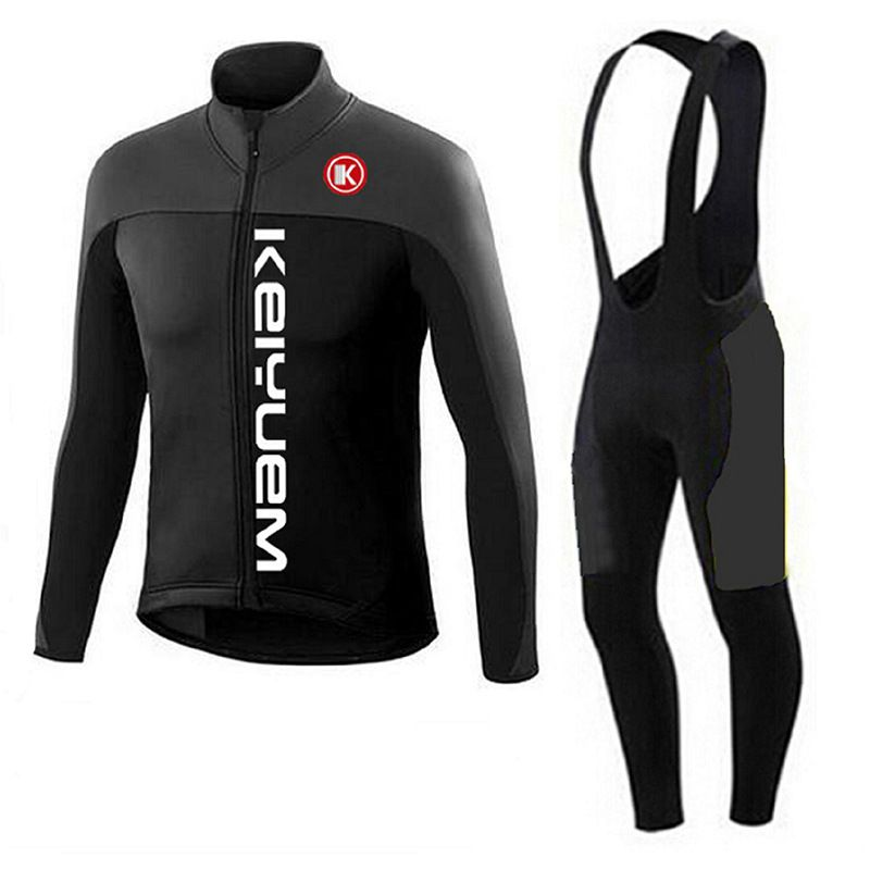 Hiver Thermique Polaire Pro Cycling Team Maillot À Manches Longues Vélo Vélo Vêtements Cycle Bib Pantalones Ropa Ciclismo Invierno