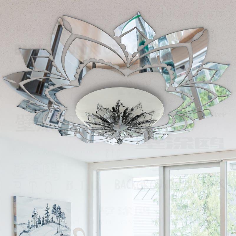 Fleur ornée décorative 3d acrylique miroir Stickers muraux plafond autocollants salon chambre décor chambre décoration Stickers R042