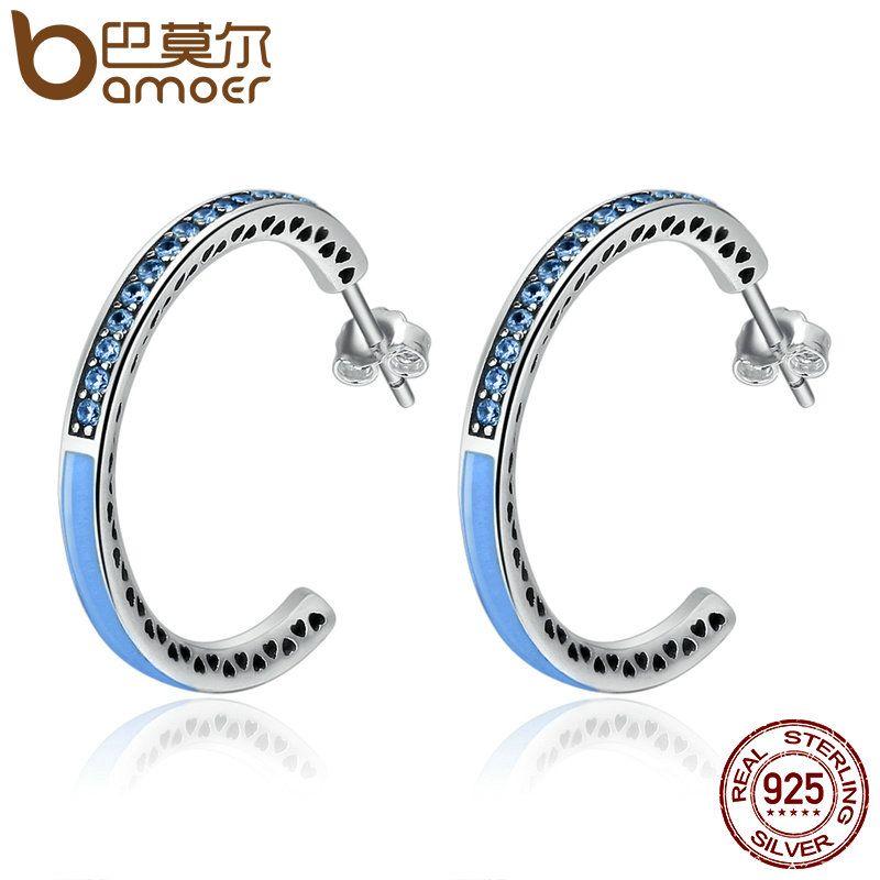 BAMOER 100% 925 Sterling Silber Radiant Herzen Licht Blau Emaille & Dazzling CZ Hoop Ohrringe für Frauen Schmuck Bijoux SCE210