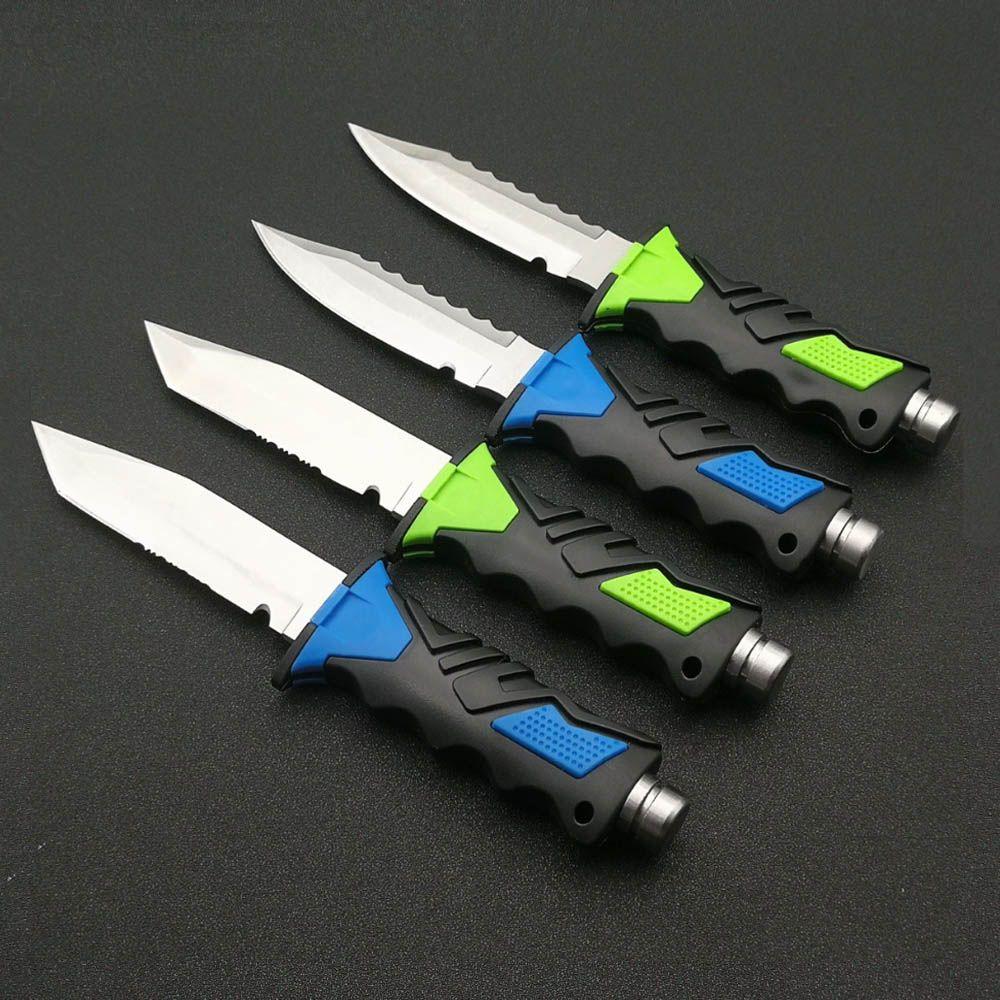 Couteau à lame fixe 440C en acier inoxydable titane pour plongée sous-marine deepkeng deep sea Leggings professionnels couteaux droits et gaine en ABS
