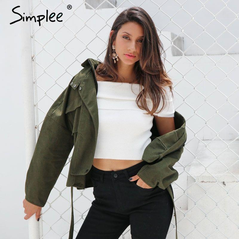 Simplee Fashion sash basic jacket coat outerwear & coats Casual autumn winter jacket women 2017 motorcycle jacket female coat