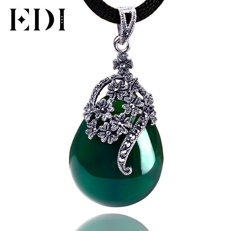 EDI Femmes Vintage Vert Jade Bijoux 925 Sterling Thai Argent Calcédoine Agate Pendentif Collier de Baisse De Mode Style DX467S