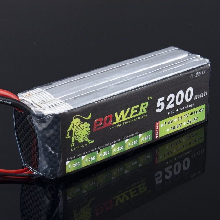1pcs Lion Power Lipo Battery 4S 14.8v 5200mah 30c T Plug RC Helicopter RC Car RC Boat Quadcopter Remote Control toys Battey