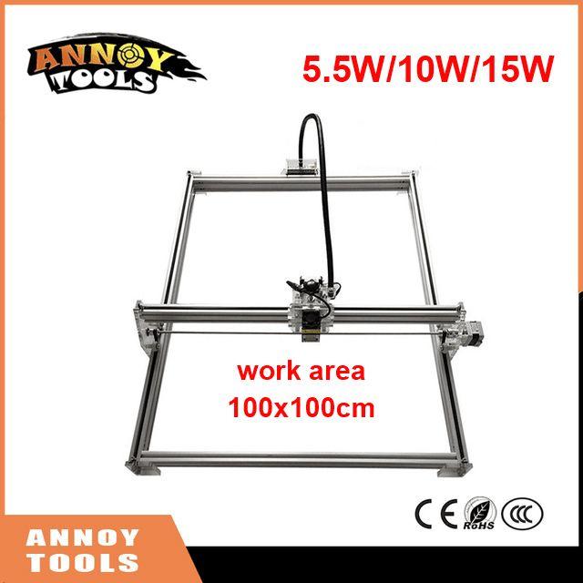 15000mw Mini desktop DIY Laser engraving engraver 10w cutting machine Laser mark on metal 100*100cm big worke area laser cutter