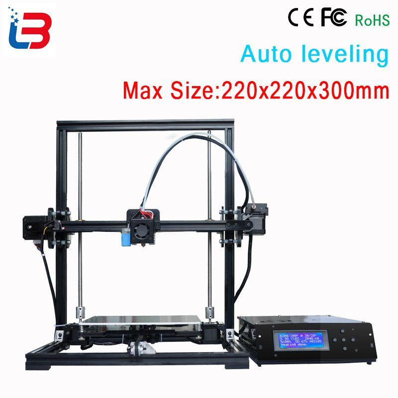 New design DIY Tronxy 3D Printer Metal frame bowden extruder large print size 220x220x300mm LCD control box 8GB SD card&PLA free