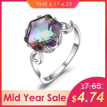 JewelryPalace 3.2ct Genuine Rainbow Fire Mystic Topaz Quartz Ring 925 Sterling Silver Rings Gemstone Ring Fine Jewelry For Women