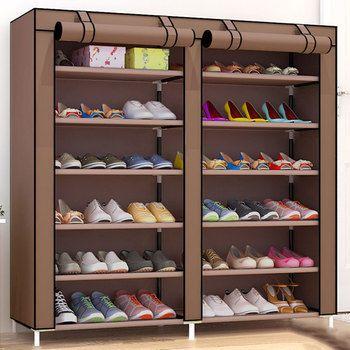 Вместительная обувница с двойными рядами, органайзер для обуви, стойка для домашней мебели, DIY, пыленепроницаемые полки для обуви