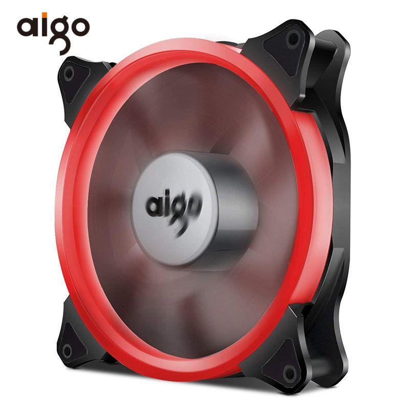Aigo 12 V PC Ordinateur Ventilateur 4 BROCHES Silencieux Radiateur Refroidisseur De Refroidissement Anti-Vibrations En Caoutchouc 140mm fans LED radiateur Roulement 7 Lames