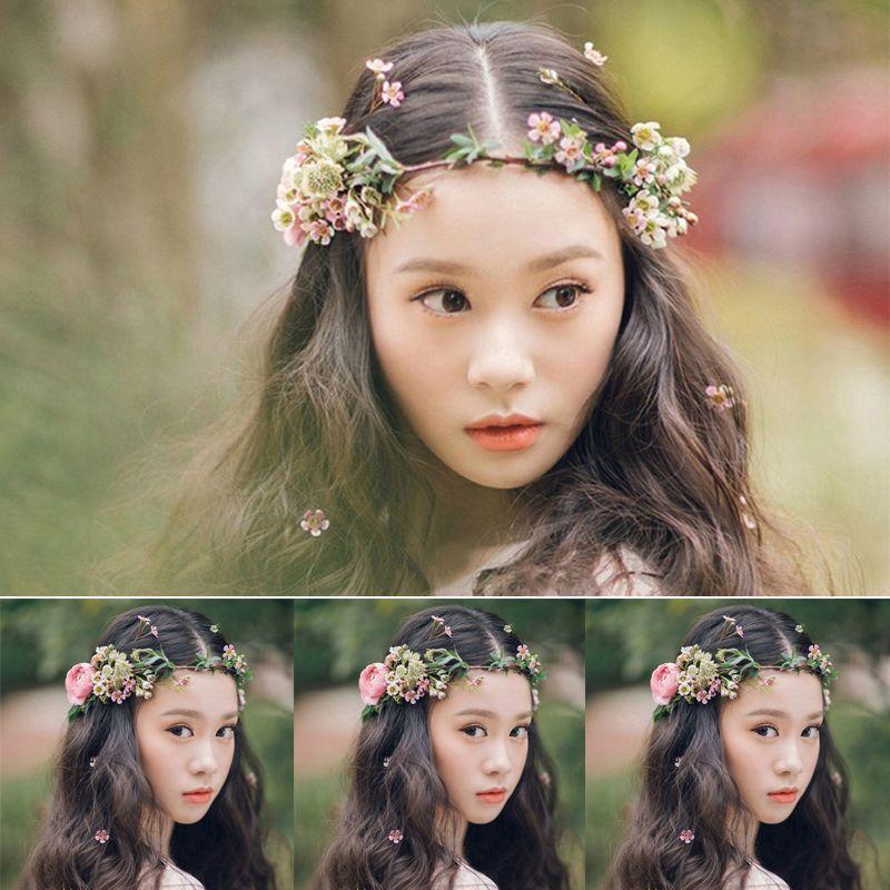 Femmes mariée fleur couronne mariée coiffure ornements floral guirlandes mariée cheveux bande fleur cheveux accessoires photographie bijoux