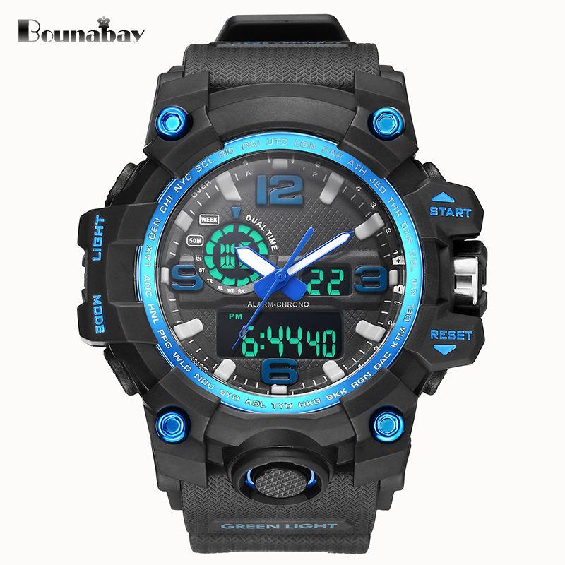 BOUNABAY military men sports watch Waterproof Watches Man Fashion S Shock led Clock sport army Male Clocks Relogio Masculino