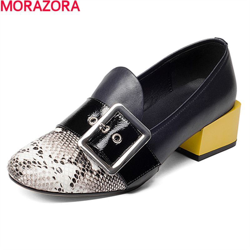 MORAZORA new Four seasons single buckle leisure shoes woman pumps fashion popular low heels shoes solid genuine leather